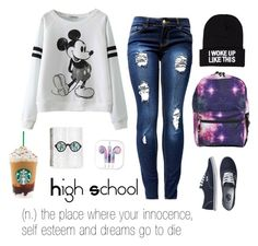 """""""School outfit"""" by diyaxox ❤ liked on Polyvore featuring Vans and NLY Accessories"""
