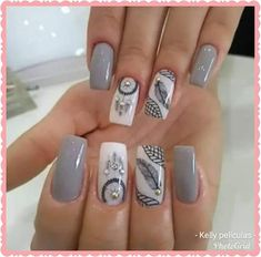 Nail Polish Designs, Acrylic Nail Designs, Nail Art Designs, Acrylic Nails, Gel Nails, Indian Nails, Finger, Bridal Nail Art, Diva Nails
