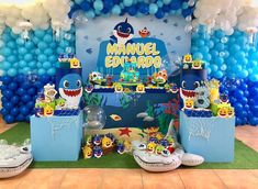 "Just Like the Song, You Won't Be Able to Get These ""Baby Shark"" Birthday Party Ideas Out of Your Head 2yr Old Birthday, 1st Boy Birthday, 3rd Birthday Parties, Birthday Party Images, Birthday Themes For Boys, Birthday Ideas, Baby Hai, Shark Party Decorations, Shark Birthday Cakes"