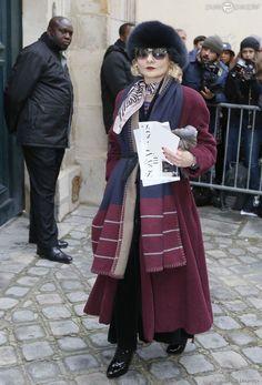 Catherine Baba arrive au Musée Rodin pour assister au défilé Christian Dior haute couture printemps-été 2015. Paris, le 26 janvier 2015.