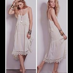 "FREE PEOPLE STAR SLIP IVORY DRESS Free People Star Slip dress size xsmall.  Condition: brand -new without tags  Crinkly crepe slip dress with crochet trim. Strappy back and a scalloped hem.   *Machine Wash Cold *100% Rayon  *Made in India Measurements: armpit to armpit 17in, length: 43 1/2 from shoulder to hem, back length: 46"" approx. Free People Dresses"