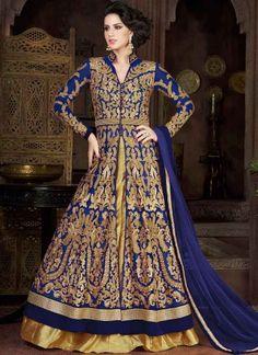 Blue Gold Embroidery Work Net Designer Silk Lehenga Style Long Anarkali Suit http://www.angelnx.com/Salwar-Kameez/Anarkali-Suits