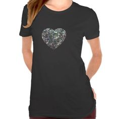 Sold! Customizable Sparkly colourful silver mosaic Heart Tshirts by #PLdesign