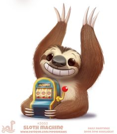 Daily Paint Sloth Machine by Cryptid-Creations on DeviantArt Cute Food Drawings, Cute Animal Drawings Kawaii, Kawaii Drawings, Cute Fantasy Creatures, Cute Creatures, Animal Puns, Cute Sloth, Kawaii Cute, Animal Paintings