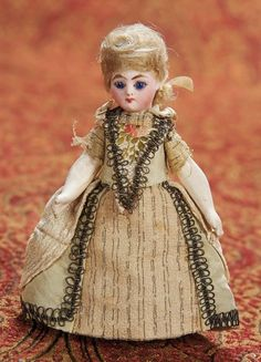 Attributed to François Gaultier — French Bisque Miniature Doll in Original Costume in the XVIII Century Style, Dollhouse Dolls, Miniature Dolls, Eye Painting, Bisque Doll, Little Doll, Antique Dolls, French Antiques, Miniatures, Stockings