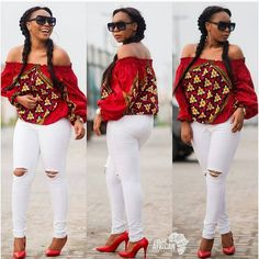 Ladies Ankara Tops For Jeans, ankara top styles with Jean shorts, ankara too with Jean trousers, perfect Ankara tops design for ladies, hot Ankara styles for jeans to match Latest African Fashion Dresses, African Dresses For Women, African Print Fashion, Africa Fashion, African Attire, African Wear, Ankara Fashion, African Outfits, African Prints