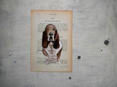 dog Painting original  Otto bassethound portrait by vumap on Etsy, €28.00