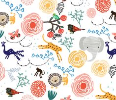 Jungle Flowers fabric by weegallery on Spoonflower - I like this the most