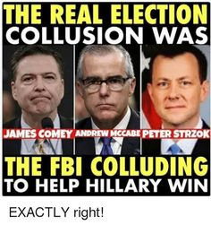 The real collusion among the FBI Director, Deputy Director and an FBI Agent at trying to prevent President Trump from getting elected during the 2016 elections campaign.