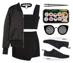 """Sushi love"" by baludna ❤ liked on Polyvore featuring Balmain, Forever New, H&M, NIKE and Quay"