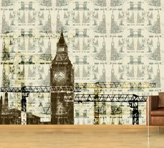 Big Ben among Cranes Mural ATA designs