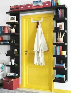 Bookshelf Door - Interior Design Ideas for Small Spaces & Flats… Wall Shelf Unit, Small Spaces, Interior, Home Hacks, Home, Bookshelves Built In, Small Bedroom, Decorating Your Home, Bookshelf Door