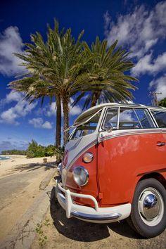 Kombi van parked at Sunset Beach
