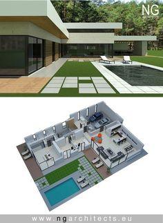 Modern villa Victoria designed by NG architects www. New House Plans, Dream House Plans, Modern House Plans, House Floor Plans, Modern Roof Design, Flat Roof Design, Modern Bungalow House, Casas Containers, Landscape Design Plans