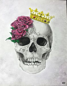 Skull with a Crown by KrisOriginals on Etsy… Skull Artwork, Skull Painting, Watercolor Painting, Skull Tattoo Design, Skull Tattoos, Sexy Tattoos, Tatoos, Skull With Crown, Crane