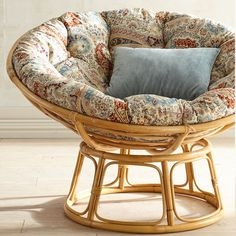 Our Papasan frame is handcrafted of natural—and naturally durable—rattan, with a lacquer finish.