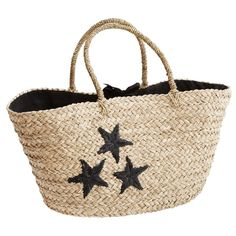 Black Star Bag (400 HRK) ❤ liked on Polyvore featuring bags, handbags, straw beach bag, woven shopping bags, straw handbags, star bag and woven straw handbags