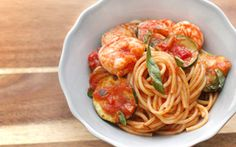 #Barilla Spaghetti with Shrimp, Zucchini & Barilla Marinara Sauce