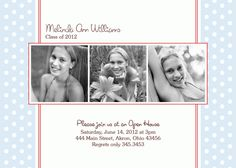 Graduation Photo Invitation - Open House - Announcement - Custom
