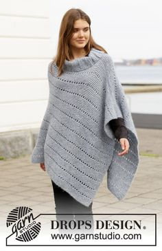 Knitted poncho in DROPS Air. The piece is worked with garter stitch and lace pattern. Sizes S - XXXL. Knitted poncho in DROPS Air. The piece is worked with garter stitch and lace pattern. Sizes S - XXXL. Poncho Pullover, Grey Poncho, Poncho Shawl, Knitted Poncho, Poncho Sweater, Poncho Knitting Patterns, Knitting Designs, Free Knitting, Baby Knitting