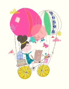 #nurseryart #balloons #bicycle #childrenswear #girl #dog #floral #butterfly  #design  http://geninedelahaye.blogspot.co.uk/