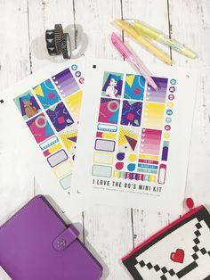 Free Sticker Friday // I Love the 80's Planner Stickers // fivesixteenths blog