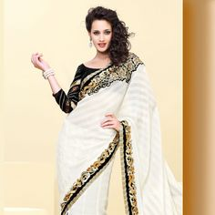 White Brasso Faux Chiffon Lehenga Style Saree with Blouse