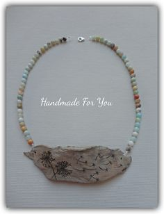 driftwood necklace , amazonitis beads, pyrography www.facebook.com/gmhandmade