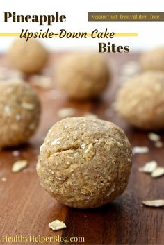 Pineapple Upside-Down Cake Bites from Healthy Helper Blog...fruity, tropical snack bites that are vegan, gluten-free, and taste like cookie…