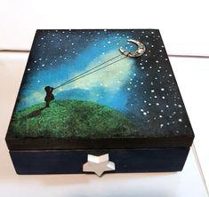 wooden box decoupage painting wooden box Wooden Box Crafts, Wooden Tea Box, Painted Wooden Boxes, Wooden Jewelry Boxes, Wooden Diy, Hand Painted, Jewelry Box Makeover, Altars, Diy Box