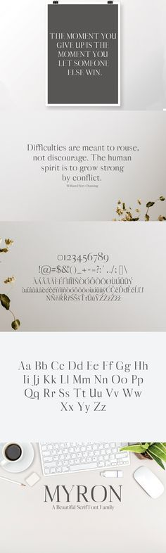 Myron Serif Typeface is a beautiful set of display fonts. Myron family contains 5 weights, from Light to Bold. Myron is Perfect for headlines, posters, English Characters, Professional Fonts, Serif Typeface, You Gave Up, Font Family, Punctuation, Glyphs, Letters And Numbers, Texts