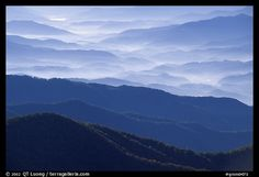 Ridges from Clingman's dome, early morning. Great Smoky Mountains National Park.