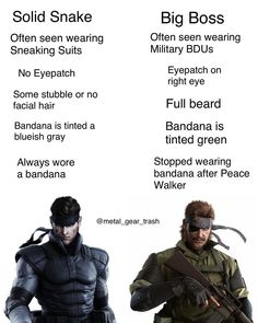 Since people confuse these two here's a little chart to help you (Metal Gear Solid) Metal Gear Games, Metal Gear Solid Series, Video Game Logic, Kojima Productions, Halo Game, Game Info, Gaming Memes, Retro, Cyberpunk