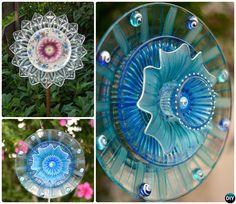 DIY Glassware Dish Flower Garden Art-20 Colorful Garden Art DIY Decorating Ideas