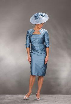 John Charles knee length silk dress & bolero 74190 - Catherines of Partick