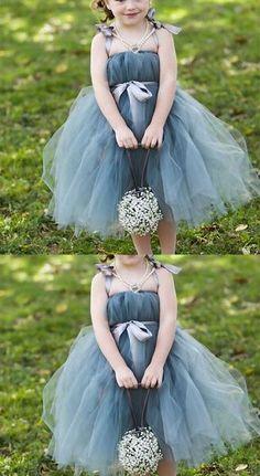 Dusty Blue Pix Tutu Dresses, Tulle Flower Girl Dresses, Cheap Little Girl Dresses for Wedding, FG046