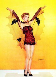 Vera-Ellen, c. 1950s, in a fantastic bat costume. #vintage #Halloween #actresses