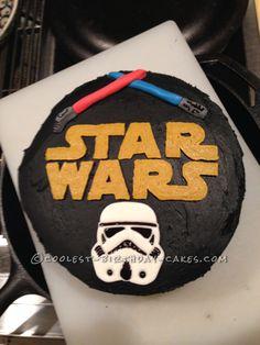 Star Wars Storm Trooper and Lightsaber Cake Star Wars Birthday Cake, Diy Birthday Cake, Star Wars Party, Boy Birthday Parties, 5th Birthday, Birthday Ideas, Death Star Cake, Star Wars Cake Toppers, Planet Cake