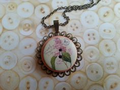 pink floral layered handmade button necklace on a by maxollieandme, £7.00
