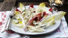 Simon Hopkinson's simple salad combines creamy roquefort with crisp, bitter leaves.