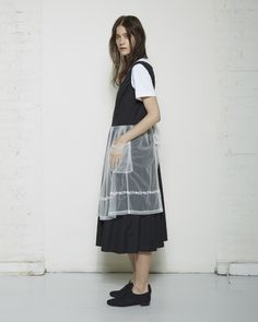 Comme des Garçons Shirt Girl / Embroidered Apron Dress   Black and white   Uniform layering   Neat