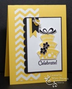 handmade birthday card by Mary Brown, stampercamper  ... luv this happy chrome yellow card ... black accents really make it pop ... topsy turvy birthday cake with black flowers and bow ... Stampin' Up!