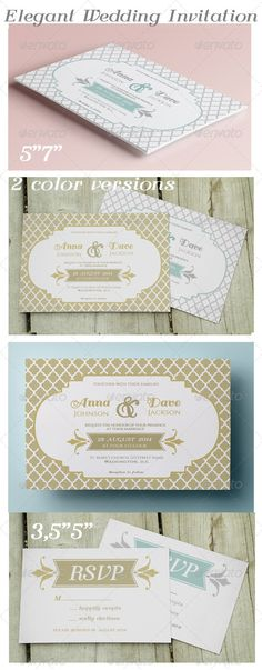 Elegant Wedding Invitation and RSVP - Weddings Cards & Invites
