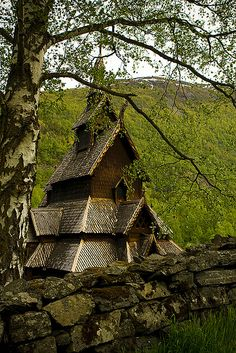 I have dreams that feature an place just like this (Borgund stavkirke, Norway  Built about  ca.1150)