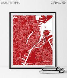 Copenhagen Map Art Print Copenhagen City Map of by MainStreetMaps