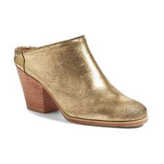Women's Rachel Comey 'Mars' Mule (1,470 ILS) ❤ liked on Polyvore featuring shoes, old gold, chunky shoes, leather mule shoes, real leather shoes, leather shoes and leather footwear