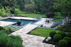 Lots of traditional yet striking features around this little pool