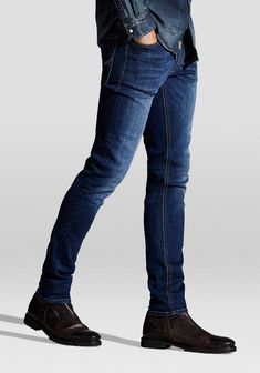 A pair of skinny fit jeans from Jack & Jones with added stretch for comfort in a classic dark wash. Jack Jones, Skinny Fit Jeans, Get The Look, Mens Suits, Thighs, Dark Blue, The Originals, Shopping, Style