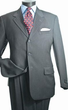 1920s Mens Clothing Mens 3 Button Suit Gray $199.00 AT vintagedancer.com