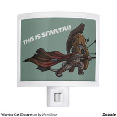 Warrior Cat Illustration Night LIght. This is a cartoon drawing of a cat-like creature wearing a medieval armor and fighting. There are arrows on his shields and he is waving a spear towards the enemy. He is fierce!